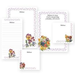 Pansy Personalized Stationery And Memo Ensemble