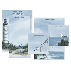 Lighthouse Personalized Stationery And Memo Ensemble