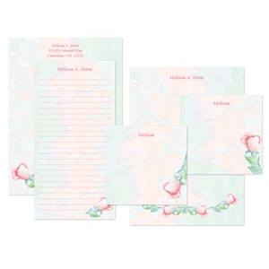 Soft Roses Personalized Stationery And Memo Ensemble