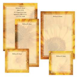 Golden Sunflower Personalized Stationery And Memo Ensemble